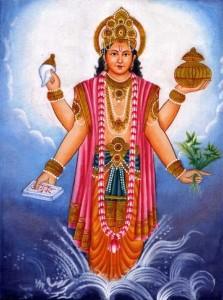 Les quatre bras de Lord Dhanvantari