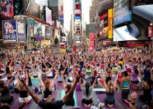 Yoga à Time Square